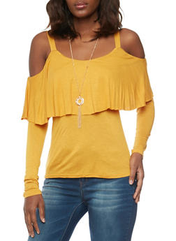 Solid Long Sleeve Cold Shoulder Ruffle Overlay Top - MUSTARD - 1304067333834