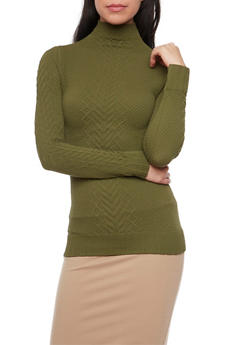 Mock Neck Top with Cable Knit Panels - OLIVE - 1304067334201