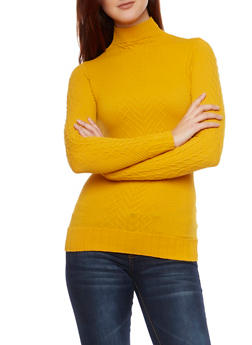 Mock Neck Top with Cable Knit Panels - MUSTARD - 1304067334201
