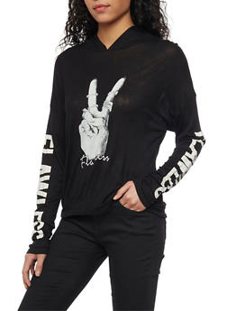 Flawless Long Sleeve Graphic Hoodie - 1304067334534