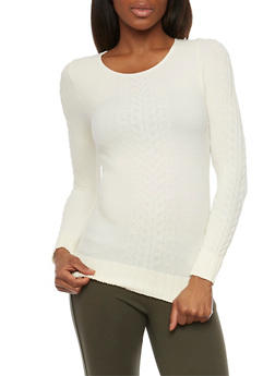 Long Sleeve Textured Cable Knit Top - IVORY - 1304067335201