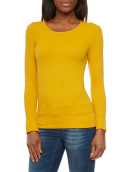 Long Sleeve Textured Cable Knit Top - MUSTARD - 1304067335201