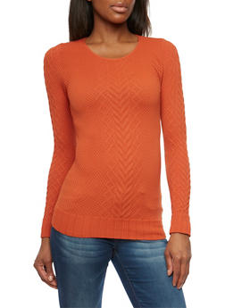 Long Sleeve Textured Cable Knit Top - 1304067335201