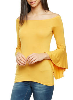 Off the Shoulder Top with Bell Sleeves - 1304067338127