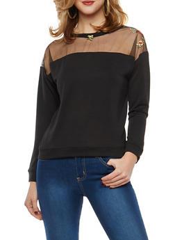 Embroidered Mesh Sweatshirt - 1304074290105