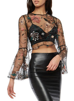Floral Embroidered Bell Sleeve Mesh Crop Top - 1304074290107