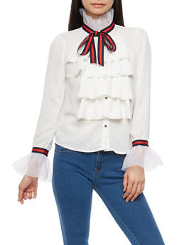 Ruffled Ribbon Trim Shirt - 1304074290152