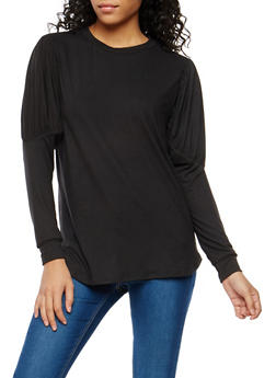 Soft Knit Bubble Sleeve Tunic Top - 1304074290179