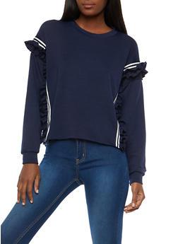 Ruffled Varsity Stripe Sweatshirt - 1304074290182