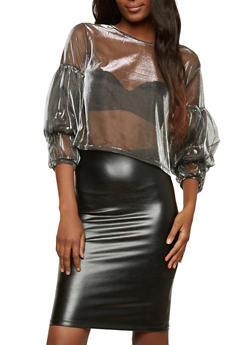 Bubble Sleeve Metallic Mesh Crop Top - 1304074290423