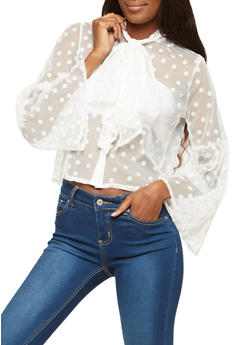 Polka Dot Mesh Button Front Top - 1304074290426