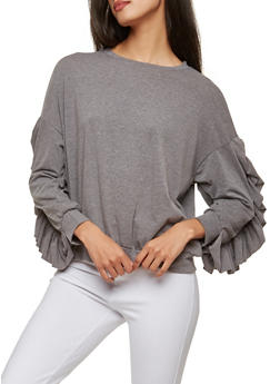 Buttoned Ruffle Sleeve Top - 1304074290441
