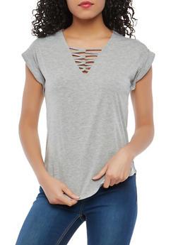Cap Sleeve Caged Neck Shirt - 1305015990200