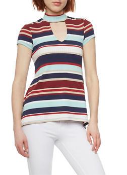 Striped Choker Neck Rib Knit T Shirt - 1305015992427