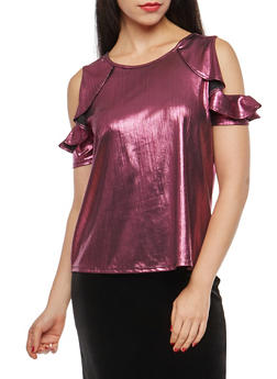 Metallic Stretch Knit Cold Shoulder Top - 1305015992830
