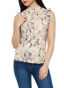 Sleeveless Floral Lace Top - 1305015993815