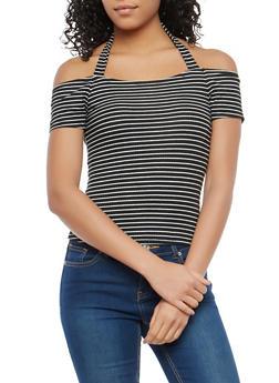 Striped Off the Shoulder Halter Neck Top - BLACK/IVORY - 1305015994000