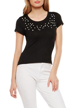 Faux Pearl Accented Soft Knit T Shirt - 1305015994202