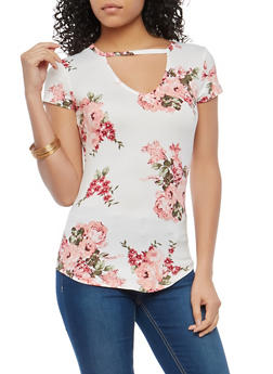 Ivory Soft Knit Floral Keyhole Top - 1305015994238