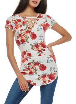 Floral Caged Keyhole Top - 1305015994240