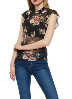 Black Floral Mesh Smocked Neck Top - 1305015994602