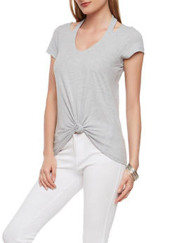 Halter Neck Knot Front Top - 1305015994972