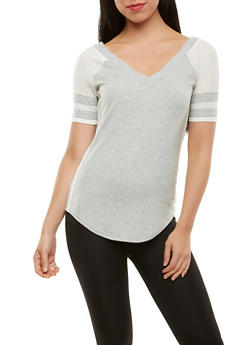 Athletic Mesh Trim Top - 1305015994976