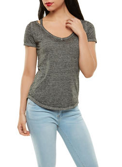 Solid Cut Out Tee - 1305015994977