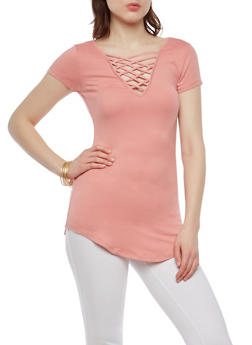 Soft Knit Caged Neck T Shirt - 1305015997909
