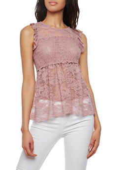 Smocked Lace Baby Doll Top - 1305015998140