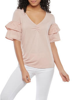 Tiered Sleeve V Neck Top - 1305015999583