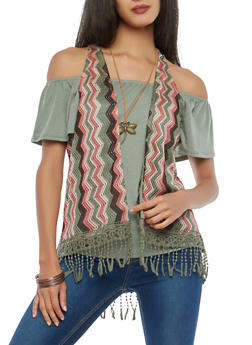Olive Off the Shoulder Top with Vest and Necklace - 1305015999740