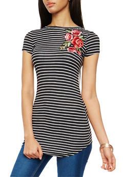 Striped Floral Applique Tunic - 1305038342091