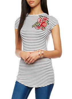 Striped Tunic with Floral Applique - 1305038342091