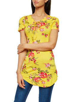 Floral Print Lace Up Tunic - 1305038342095