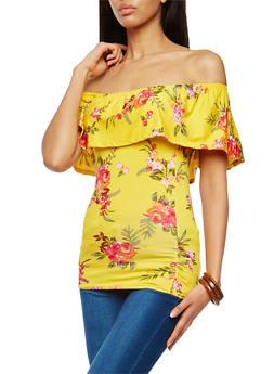 Floral Print Off the Shoulder Top - 1305038342098