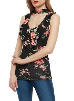 Ruffle Floral Choker Neck Top - 1305038342099