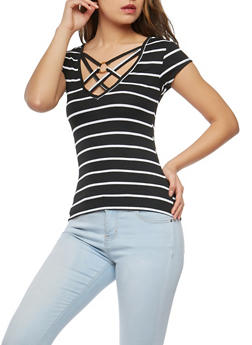 Rib Knit Caged Neck Top - 1305038342432