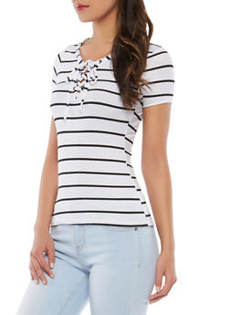 Striped Ribbed Knit Lace Up Top - 1305038342434