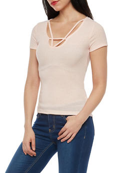 Rib Knit Caged Neck Top - 1305038342652