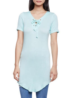 Short Sleeve Lace Up Tunic Top - MINT - 1305038347104