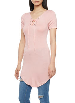 Short Sleeve Lace Up Tunic Top - MAUVE - 1305038347104