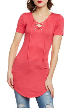 Short Sleeve Lace Up Tunic Top - 1305038347104