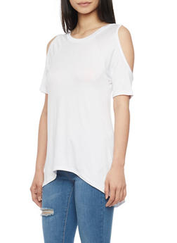 Short Sleeve Cold Shoulder High Low Top - WHITE - 1305038347119