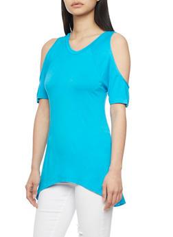 Short Sleeve Cold Shoulder High Low Top - 1305038347119