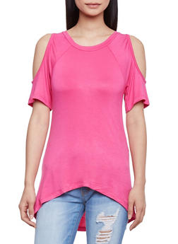 Short Sleeve Cold Shoulder High Low Top - 1305038347119