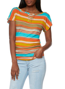 Striped Scoop Neck Top with Fringe Collar Necklace - 1305038347282