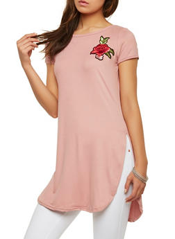 Rose Patch Tunic Top - 1305038348203