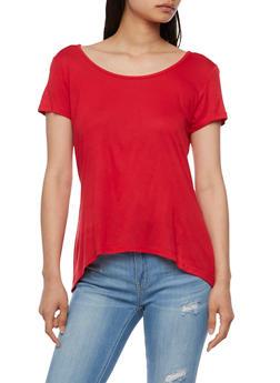 Short Sleeve Top with Split Back Hem - 1305054268221