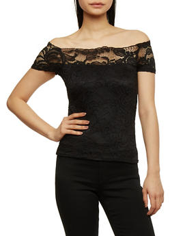 Off the Shoulder Lace Top - 1305054268809